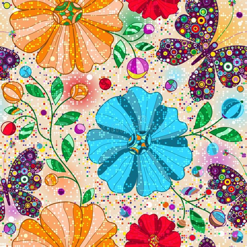 与乱画五颜六色的蝴蝶和花的无缝的花卉样式 向量例证