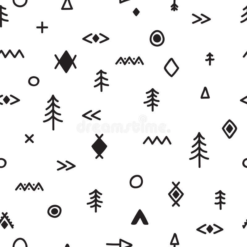 与乱画元素的手拉的无缝的样式 部族抽象的背景 抽象种族几何艺术印刷品 时髦时髦 皇族释放例证