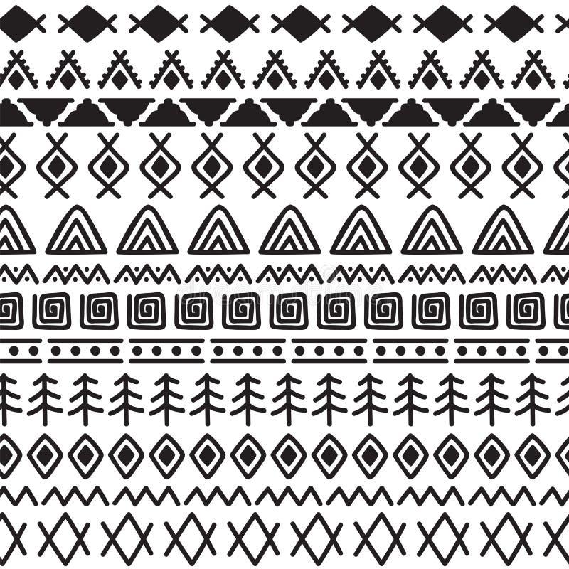 与乱画元素的部族无缝的样式 抽象几何印刷品 手拉的种族背景 向量例证