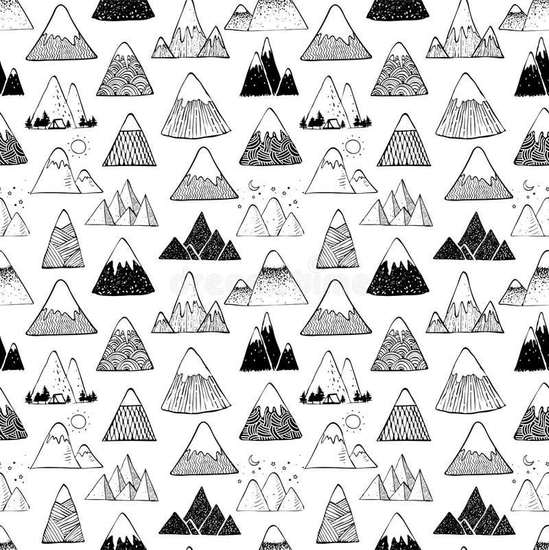 与乱画剪影山的无缝的背景在白色背景 能为墙纸,样式积土,纺织品使用 库存例证
