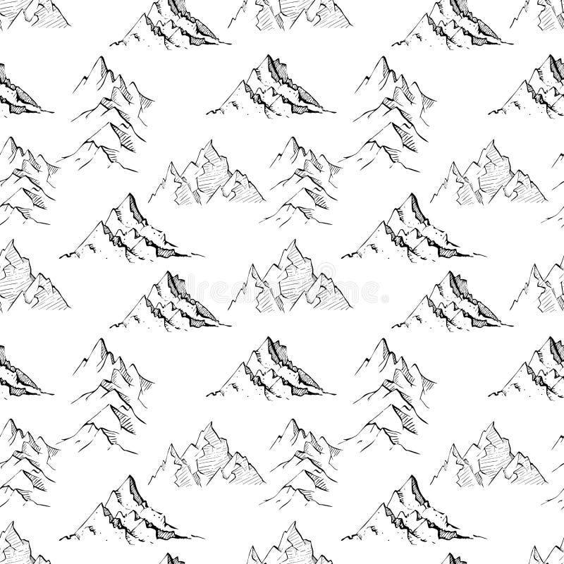 与乱画剪影山的无缝的背景在白色背景 能为墙纸,样式积土,纺织品使用 向量例证