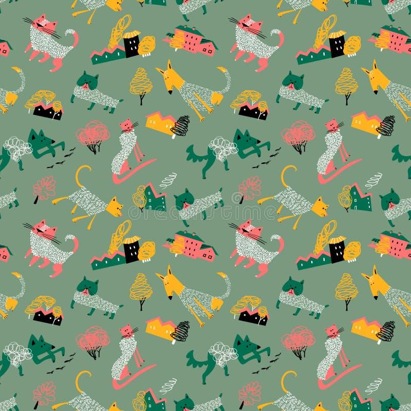 与乱画猫和狗的无缝的patternt在都市风景 与宠物的背景 图库摄影