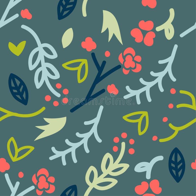 与乱画的无缝的样式花卉在绿色背景,传染媒介,乱画图画,逗人喜爱的传染媒介 免版税图库摄影