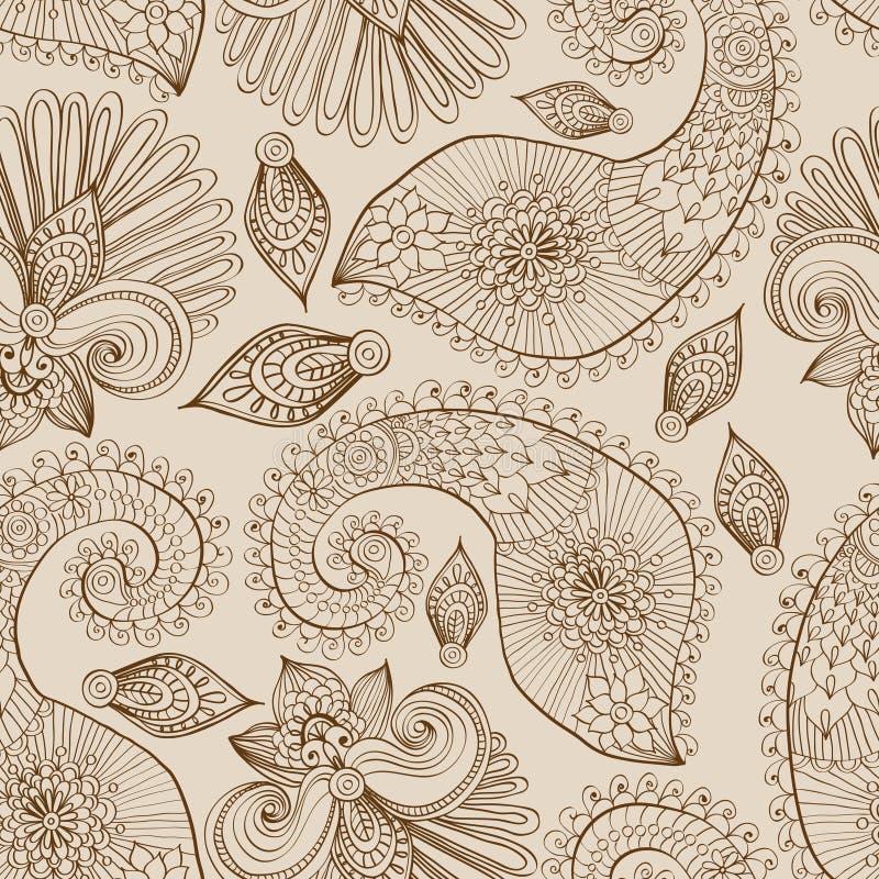 与乱画花和佩兹利的花卉无缝的模式 库存例证