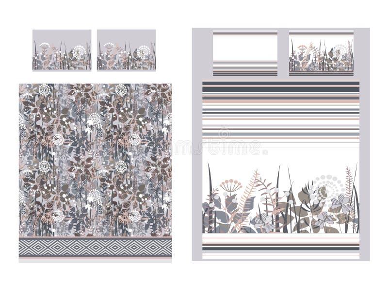 与乱画花和条纹的豪华卧具集合 两个鸭绒垫子和三个枕头背景 也corel凹道例证向量 碱性 向量例证