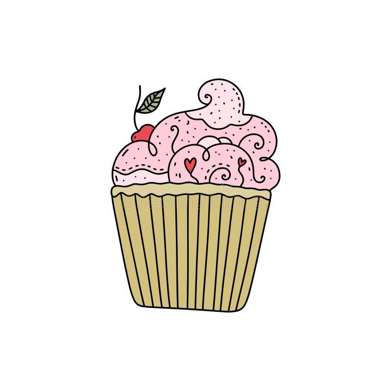 与乱画装饰品的传染媒介手拉的杯形蛋糕 皇族释放例证