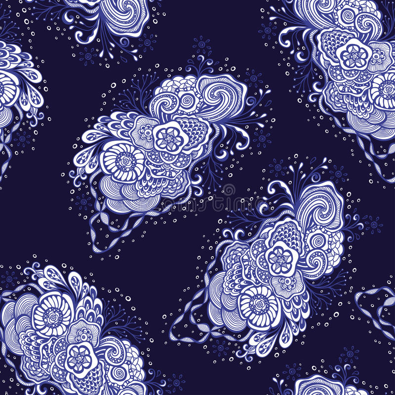 与乱画元素的无缝的样式在深蓝白色的葡萄酒手工制造样式 皇族释放例证