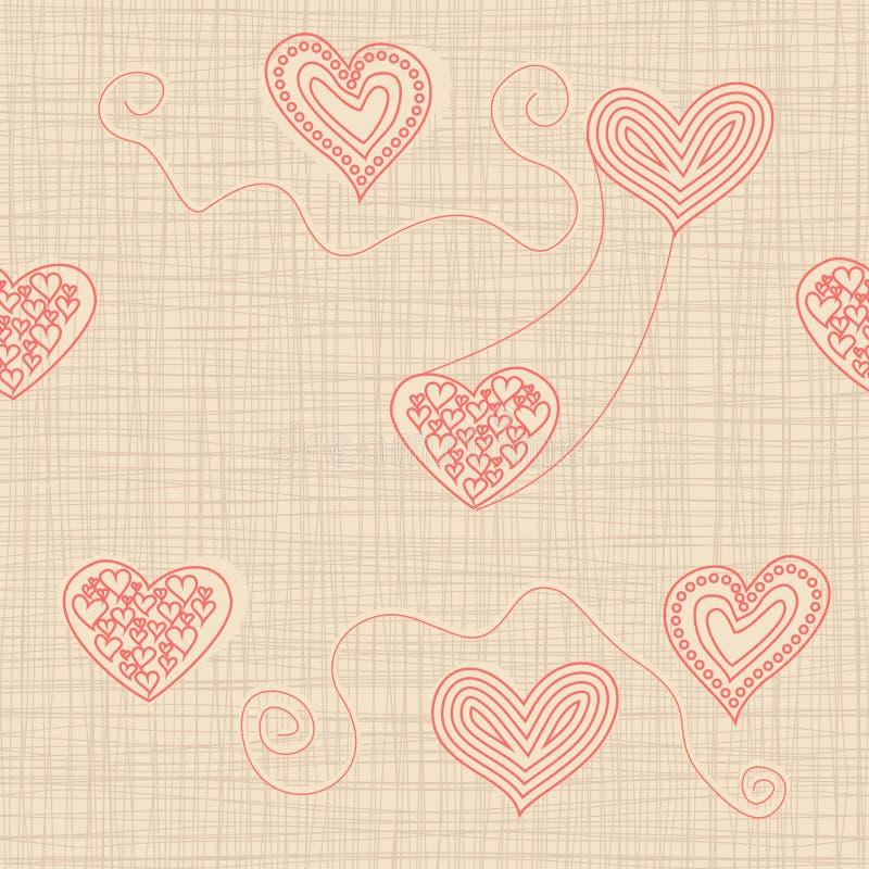 与乱画心脏的无缝的样式在纹理背景 库存例证