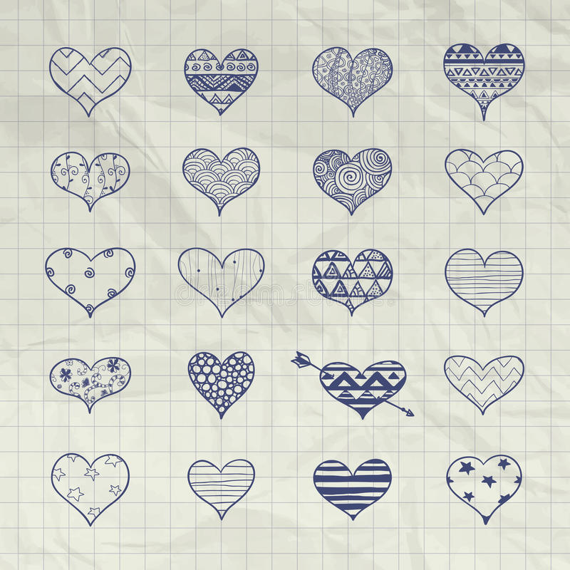 与乱画样式的传染媒介手拉的心脏形状 皇族释放例证