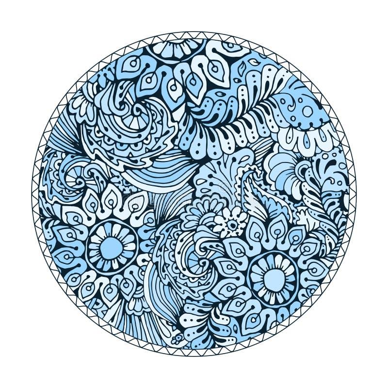 与乱画样式的蓝色圆的着色页设计成人的 皇族释放例证