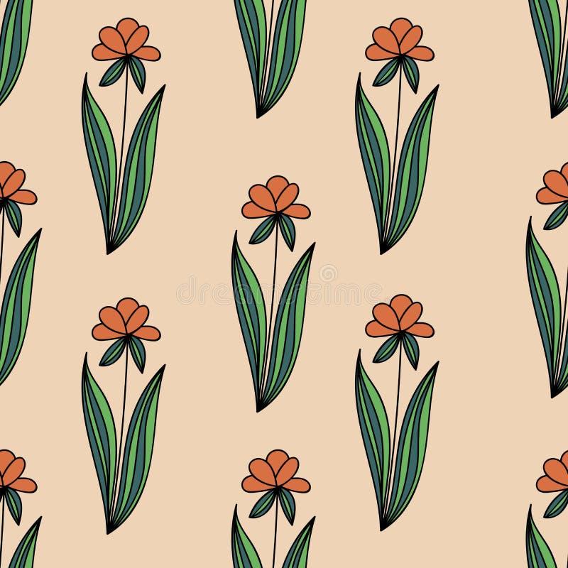 与乱画橙色花的花卉无缝的样式与绿色在米黄背景离开 皇族释放例证