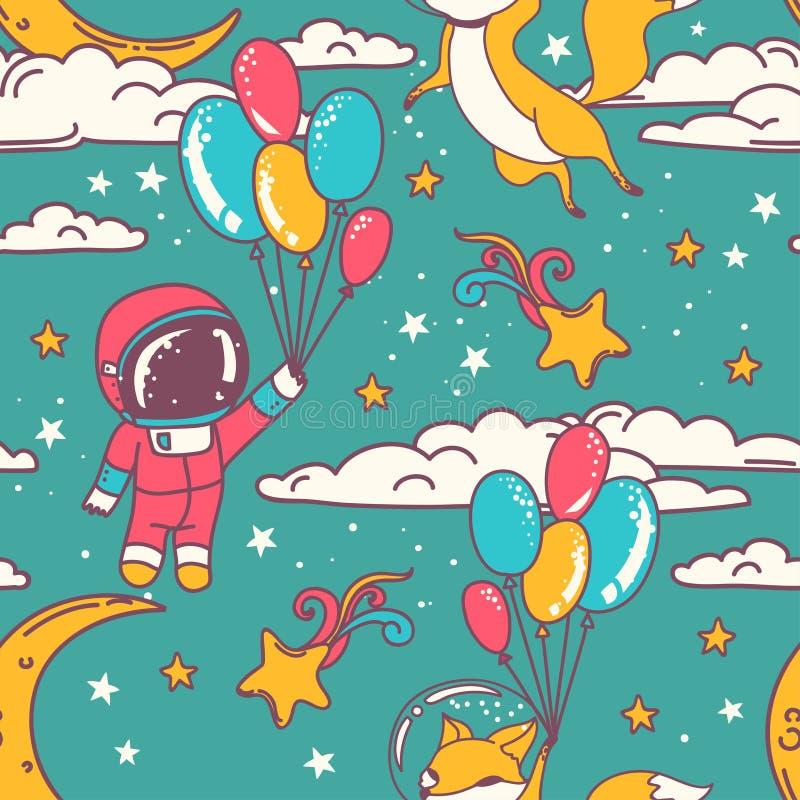 与乱画狐狸和男孩宇航员的逗人喜爱的无缝的样式飞行在满天星斗的天空的气球的 皇族释放例证