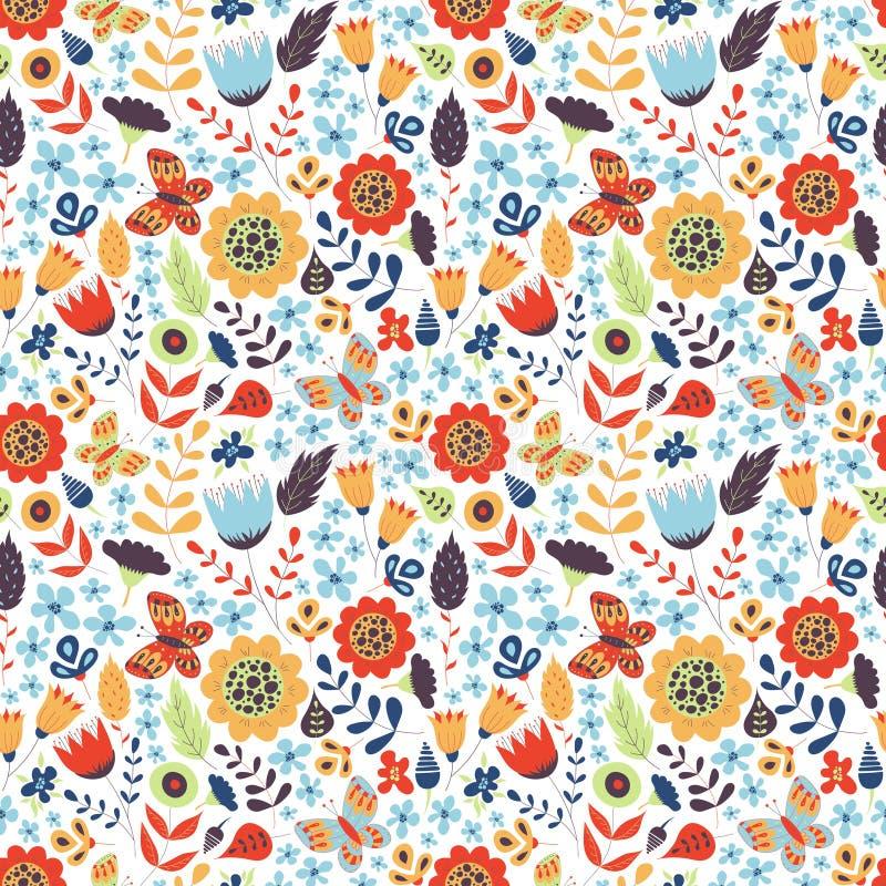 与乱画花的花卉无缝的样式 库存例证