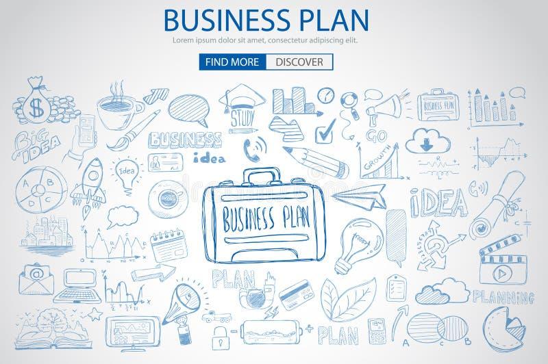 与乱画设计样式的企业规划概念 皇族释放例证