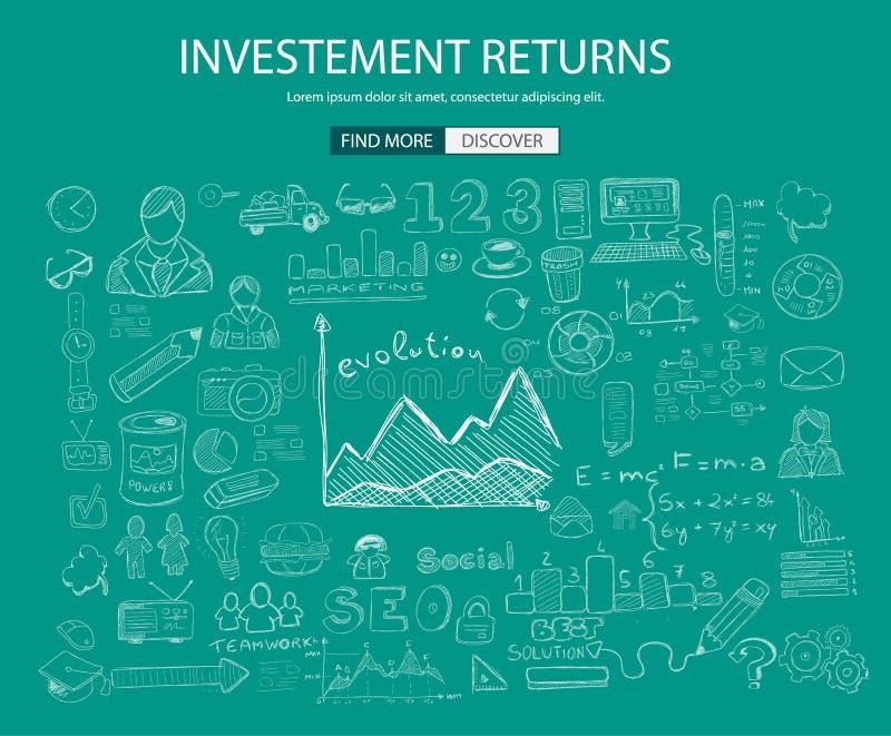 与乱画设计样式的投资收益概念 库存例证