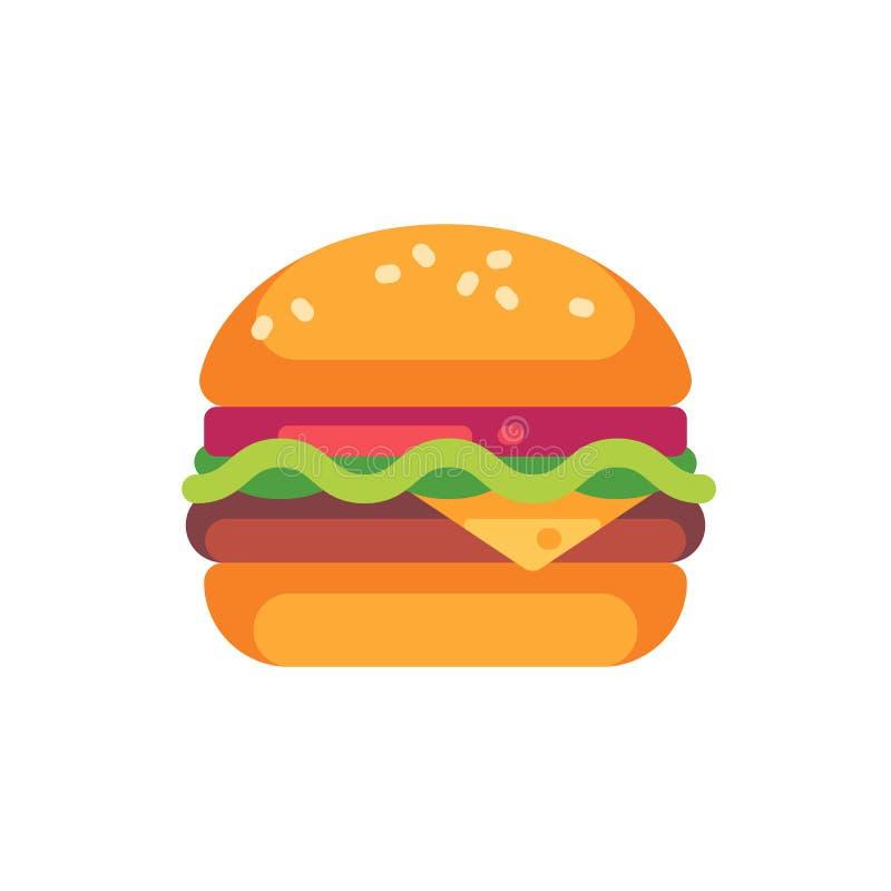 与乳酪和沙拉平的象的鲜美汉堡 向量例证