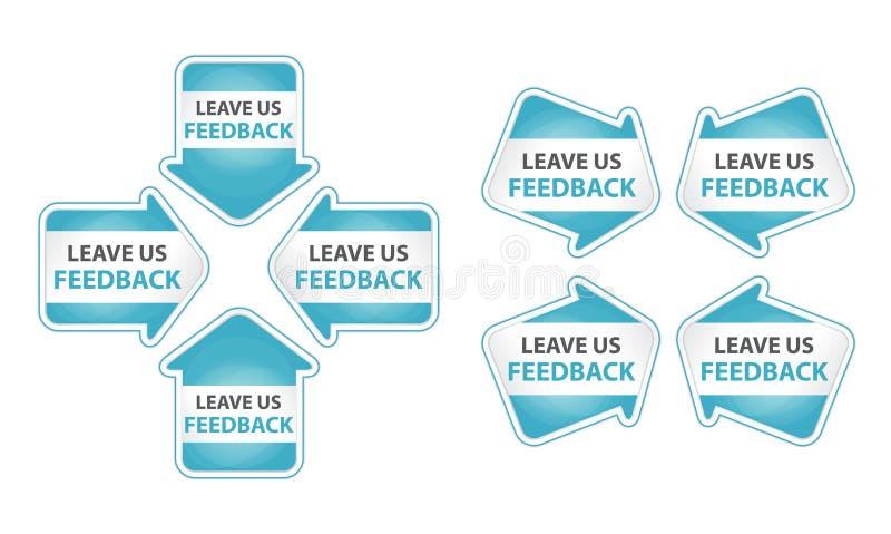 与事假的蓝色箭头我们反馈标签 库存例证