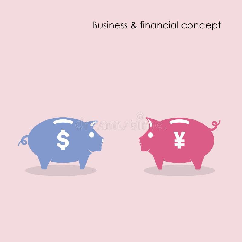 与事务和财政概念的存钱罐标志 皇族释放例证