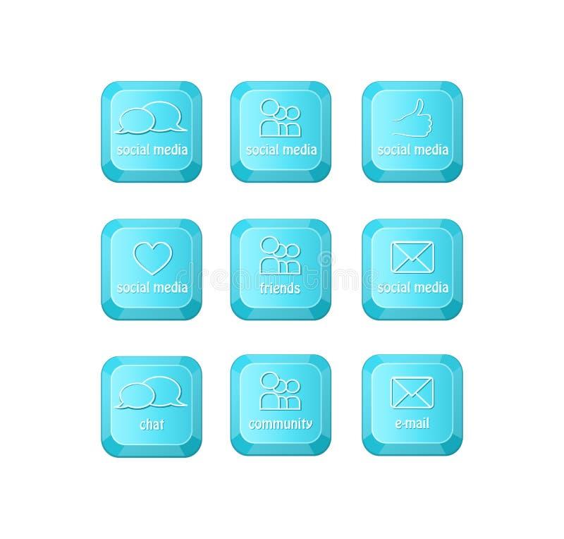 与二个演讲泡影符号的社会媒体关键字在关键董事会 库存例证