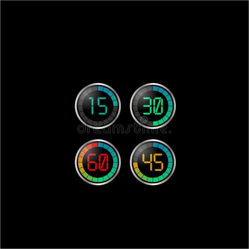 与二十分级的标度的电子定时器与四价值在黑背景的 向量例证