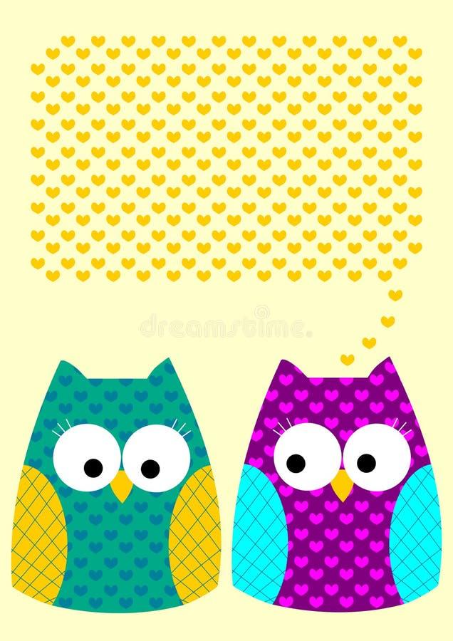 猫头鹰爱消息与心脏的贺卡 向量例证