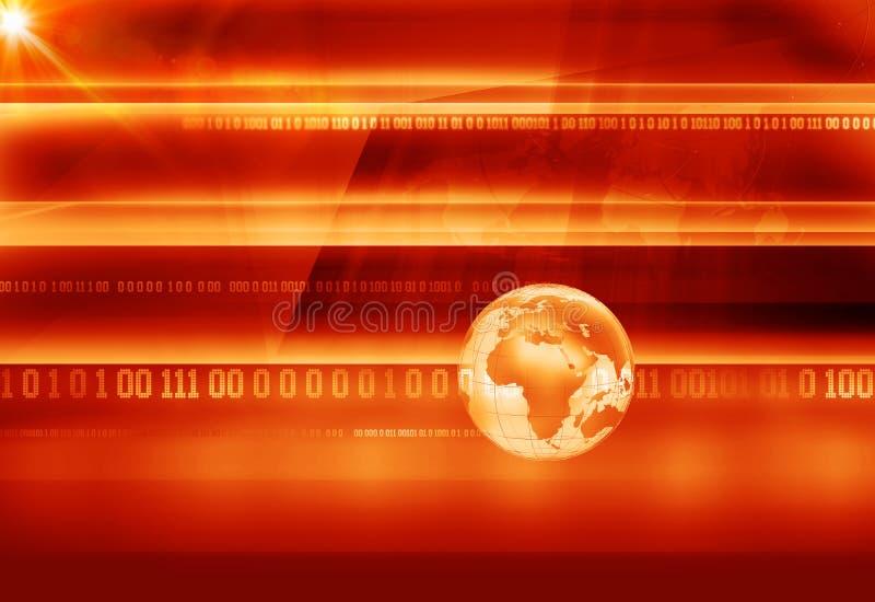 与二进制编码和地球地球概念系列的图解超大事件背景 免版税图库摄影