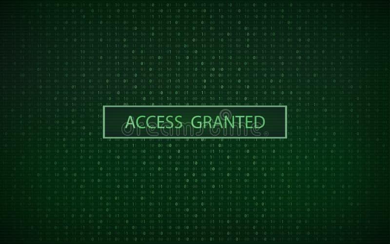 与二进制编码和`通入的绿色的抽象数字式背景授予了`词 库存例证