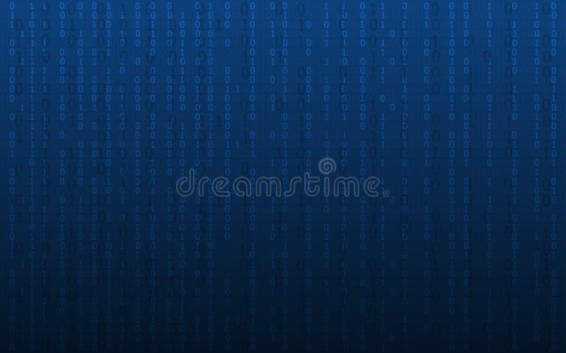 与二进制编码样式的抽象数字式背景在深蓝颜色 皇族释放例证