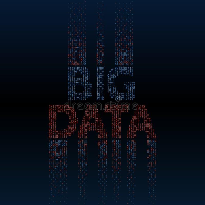 与二进制编码的抽象大数据背景 皇族释放例证
