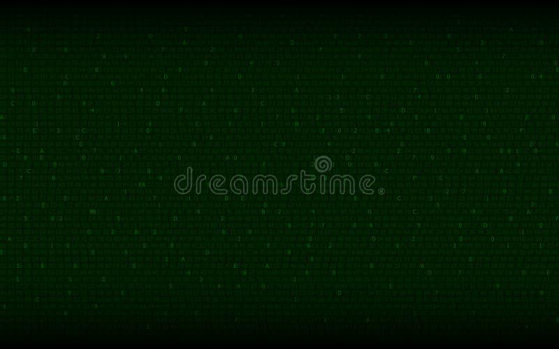 与二进制编码的抽象数字式背景在绿色 皇族释放例证