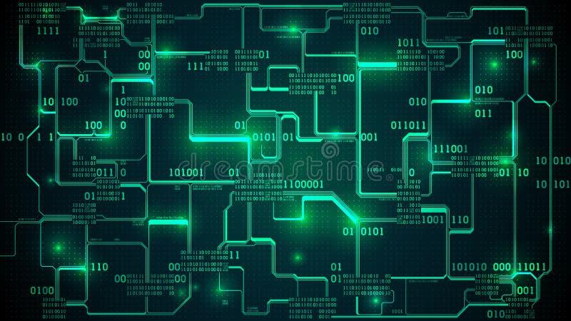 与二进制编码的抽象未来派电子线路板,神经网络和大数据-人工智能的元素 皇族释放例证