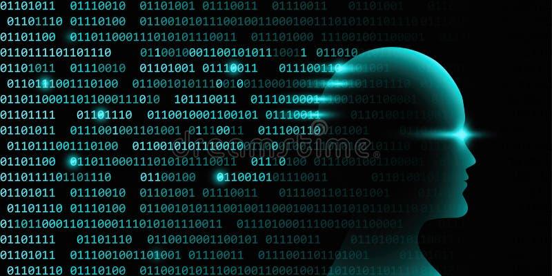 与二进制编码的男性人工智能技术概念 皇族释放例证
