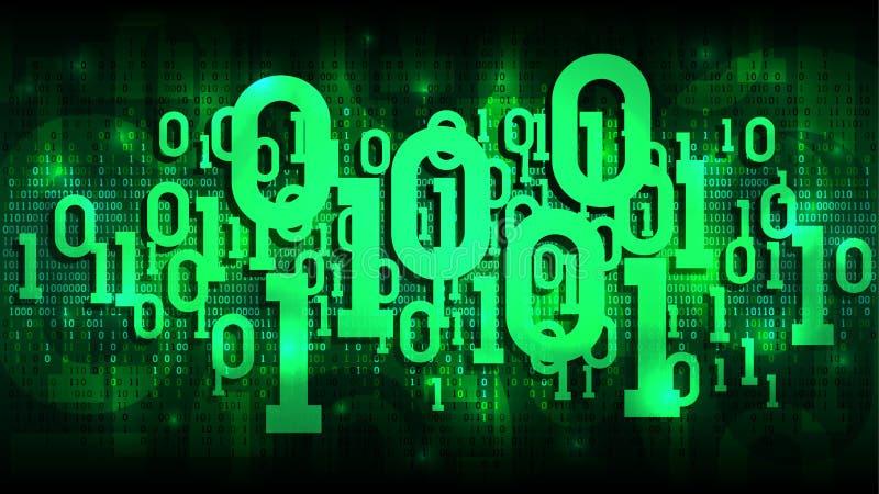 与二进制编码的矩阵绿色背景,遮蔽在抽象未来派网际空间,大数据云彩的数字式代码  皇族释放例证