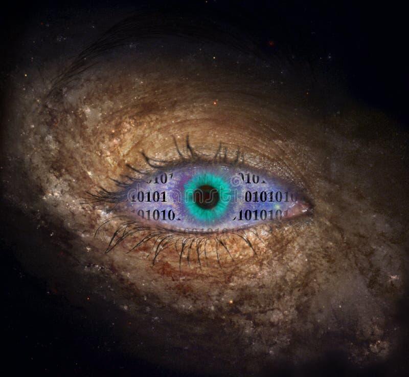 与二进制编码的超新星眼睛 库存照片