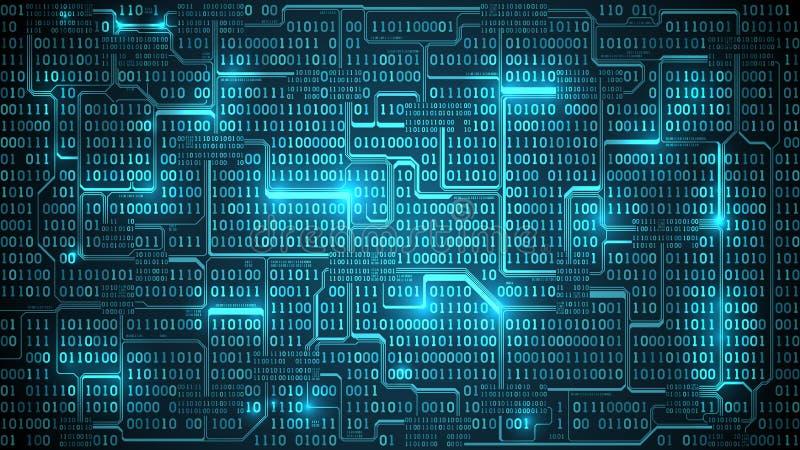 与二进制编码,与数字,组织完善的层数的矩阵背景的抽象未来派电子线路板 皇族释放例证