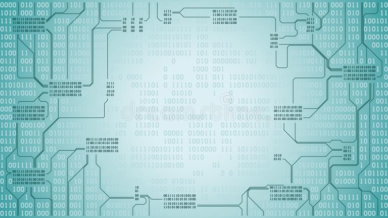 与二进制编码,计算机数字技术背景,框架,组织完善的层数的抽象未来派电子线路板 向量例证