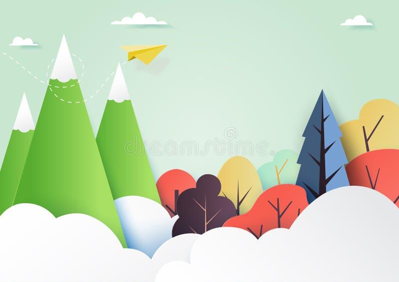 与云彩、森林和山纸艺术样式的五颜六色的自然风景背景 也corel凹道例证向量 向量例证