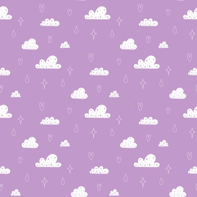 与云彩、雨水星和滴的传染媒介无缝的样式  库存例证
