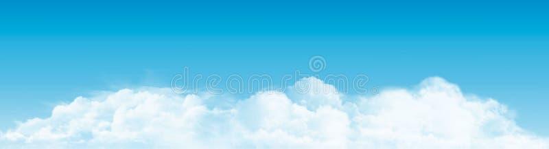 与云彩全景的蓝天 向量 皇族释放例证