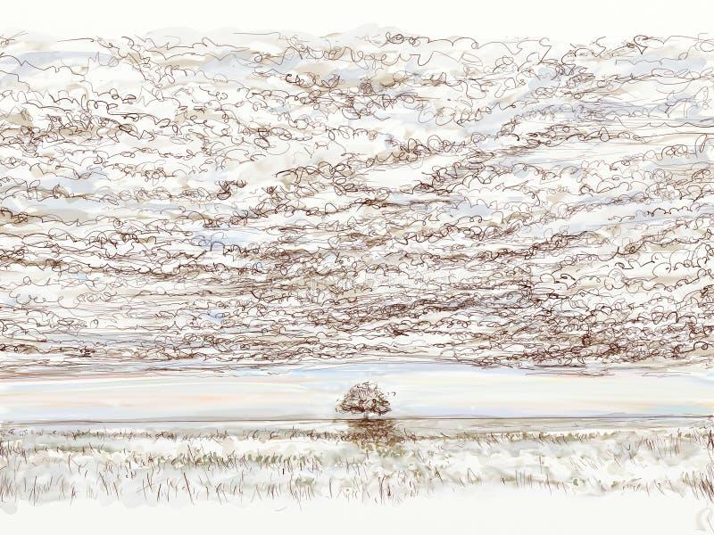 与云彩和云彩的风景 库存图片