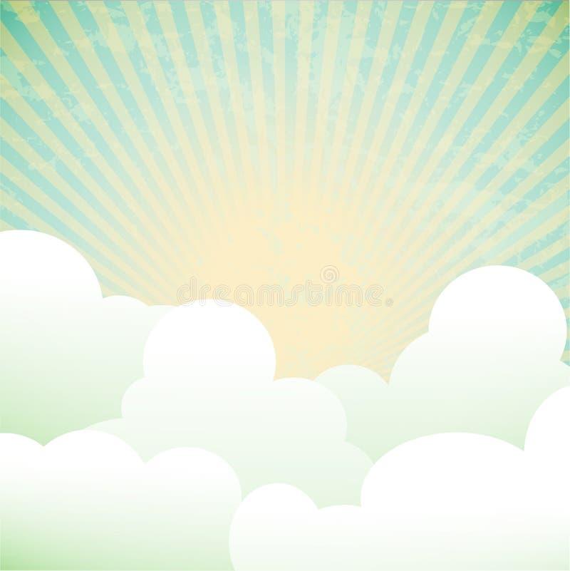 与云彩和光芒的背景 向量例证