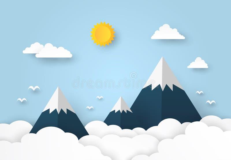 与云彩和太阳的美好的山风景在蓝色背景,纸艺术样式 向量例证