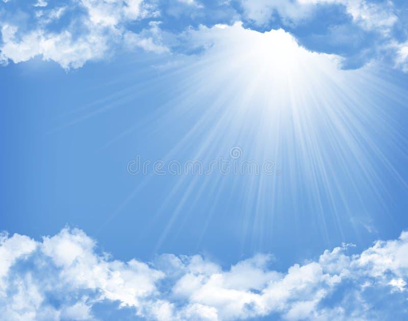 与云彩和太阳的蓝天 库存例证