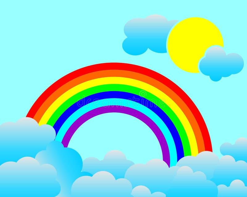 与云彩和太阳的Raindow 免版税库存图片