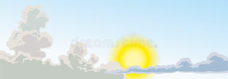 与云彩和明亮的太阳的天空 太阳和云彩,您的项目的设计 免版税库存照片