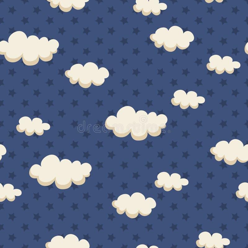 与云彩和星的无缝的样式 库存例证