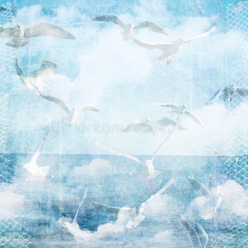与云彩和海鸥的抽象葡萄酒纹理背景 向量例证