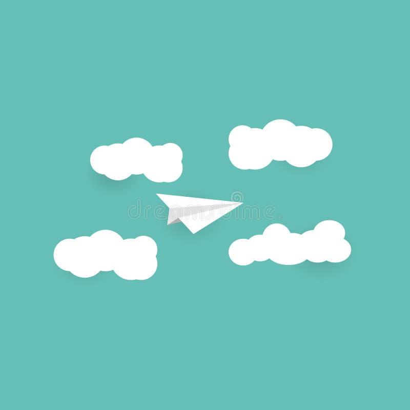 与云彩和空间平的设计纸艺术a的纸平面飞行 库存例证