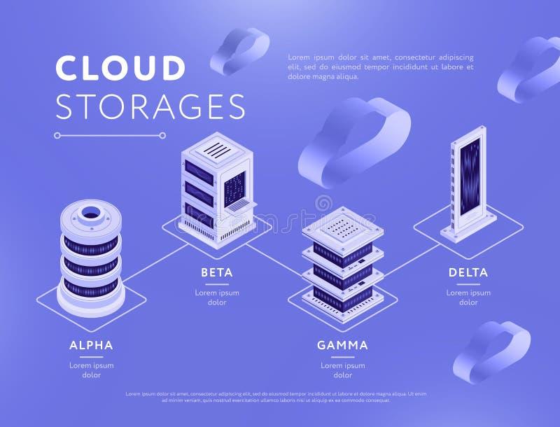 与云彩存贮的被连接的数据库 向量例证