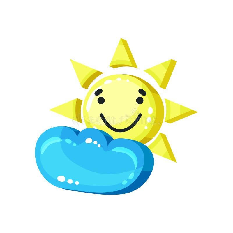 与云彩明亮的光滑的微笑吉祥人的微笑的太阳emoji导航在白色背景的例证 皇族释放例证